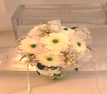White Daisy Mum Corsage in Greenville SC, Expressions Unlimited