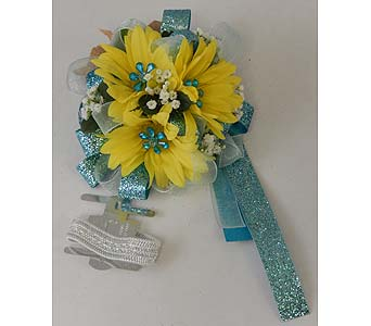 Yellow Daisy Wrist Corsage in Bloomington IL, Forget Me Not Flowers