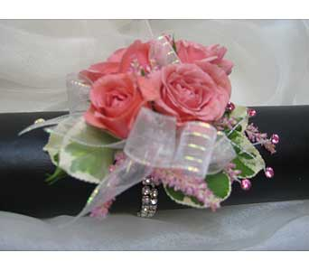 Pink Spray Wrist Corsage in Brooklin ON, Brooklin Floral & Garden Shoppe Inc.