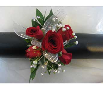Red Spray Wrist Corsage in Brooklin ON, Brooklin Floral & Garden Shoppe Inc.
