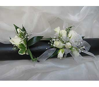 White Spray Rose Wrist Corsage in Brooklin ON, Brooklin Floral & Garden Shoppe Inc.