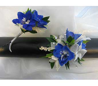 Blue Wrist Corsage and Boutonniere Set in Brooklin ON, Brooklin Floral & Garden Shoppe Inc.