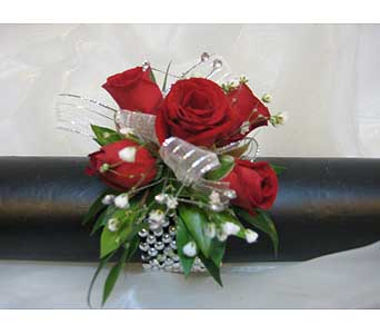 Red Spray with Silver Accents Wrist Corsage in Brooklin ON, Brooklin Floral & Garden Shoppe Inc.