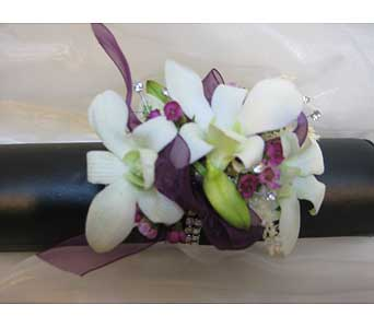 White Dendrobium Orchid Wrist Corsage in Brooklin ON, Brooklin Floral & Garden Shoppe Inc.