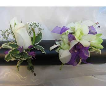 White with Lavendar Ribbon Set in Brooklin ON, Brooklin Floral & Garden Shoppe Inc.