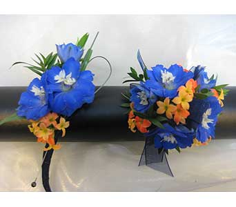 Blue with Orange Accents Set in Brooklin ON, Brooklin Floral & Garden Shoppe Inc.