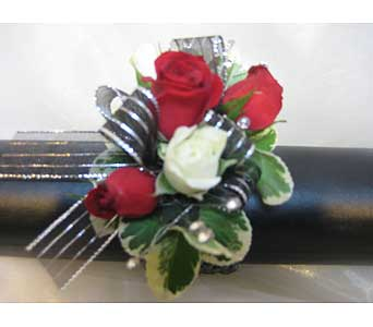 Red with a Splash of White Wrist Corsage in Brooklin ON, Brooklin Floral & Garden Shoppe Inc.