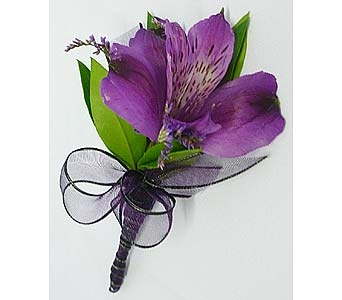 Purple Alstromeria Boutonniere in Mesa AZ, Watson Flower Shops