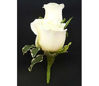 White Spray Rose Boutonniere in Mesa AZ, Watson Flower Shops