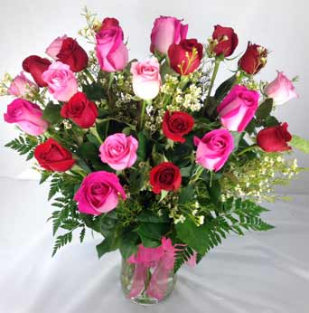 24 PREMIUM  RED & PINK ROSES by Rubrums in Ossining NY, Rubrums Florist Ltd.