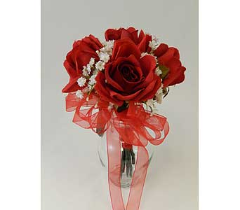 Hand tied cluster of Red Roses in Bloomington IL, Forget Me Not Flowers