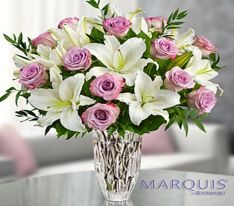 Marquis by waterford Purple Rose and Lily Bouquet in El Cajon CA, Conroy's