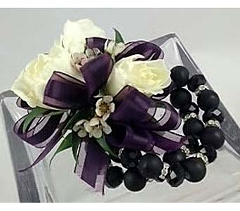 White Spray  Rose Corsage with Eggplant Ribbon in Raleigh NC, North Raleigh Florist