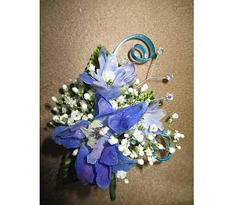 Blue Delph. Boutonniere in Derby KS, Mary's Unique Floral & Gift