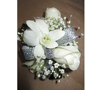 White Orchids And Roses Corsage in Derby KS, Mary's Unique Floral & Gift