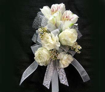 White Mixed Corsage Wristlet in Kennewick WA, Heritage Home Accents & Floral