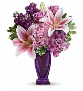 Teleflora's Blushing Violet Bouquet in Indio CA, Aladdin's Florist & Wedding Chapel