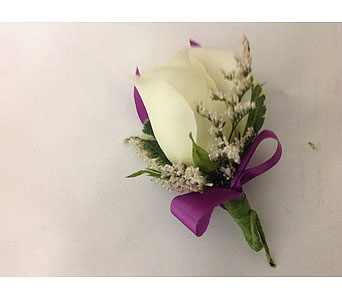 Boutonni�re with white Rose & Magenta Ribbon in Modesto CA, Flowers By Alis