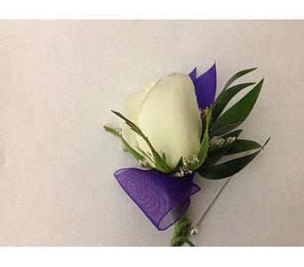 Boutonni�re with White Rose with Purple Ribbon in Modesto CA, Flowers By Alis