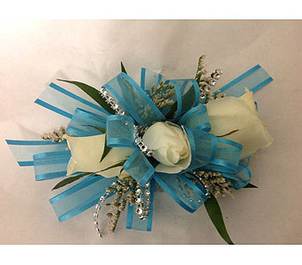 Corsage with Teal  Ribbon and white Roses in Modesto CA, Flowers By Alis