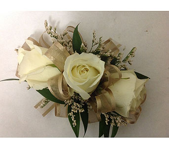 Corsage with Light Brown Ribbon & White Roses in Modesto CA, Flowers By Alis