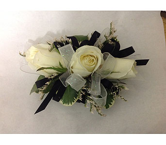 Corsage with Black Ribbon and White Roses in Modesto CA, Flowers By Alis