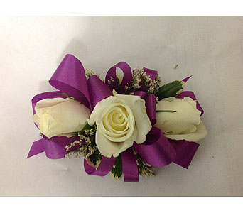 Corsage with Magenta Ribbon & White Roses in Modesto CA, Flowers By Alis