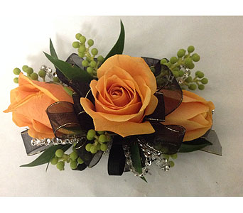 Corsage with Black Ribbon & Orange Roses in Modesto CA, Flowers By Alis