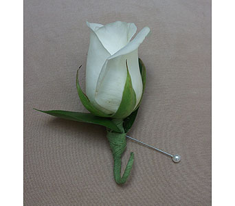 Elegant White Rose Boutonniere in West Los Angeles CA, Westwood Flower Garden