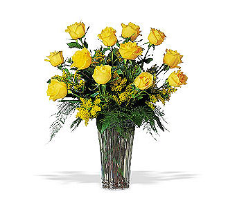 A Dozen Yellow Roses in Dallas TX, Petals & Stems Florist