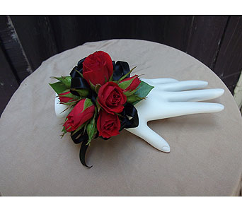 Red Rose & Black Satin Corsage in West Los Angeles CA, Westwood Flower Garden