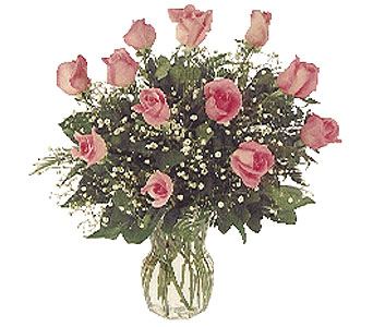 1 Dozen Pink Roses in Dallas TX, Petals & Stems Florist