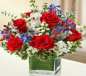 Red White and Blue Cube in Princeton, Plainsboro, & Trenton NJ, Monday Morning Flower and Balloon Co.