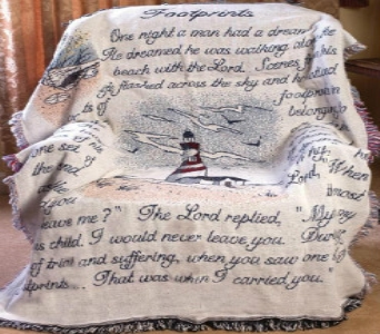 Footprints - Lighthouse Afghan in Troy OH, Trojan Florist & Gifts