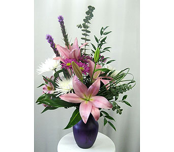 Frosted Purple 8 inch Vase - Designed All-Around in Wyoming MI, Wyoming Stuyvesant Floral