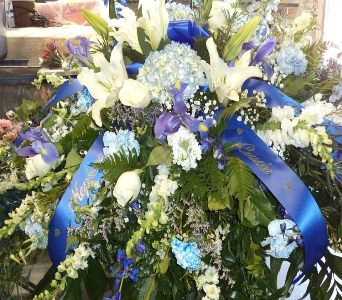 Blue and Purple Casket spray in Milford OH, Jay's Florist