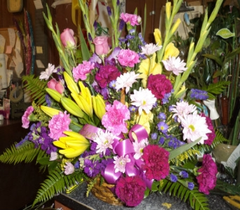 Fresh arrangement in basket in Milford OH, Jay's Florist