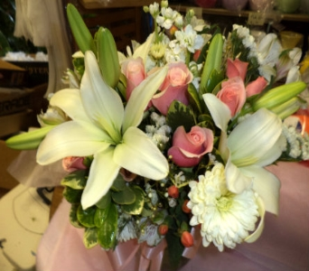 Peach Wedding Bouquet in Milford OH, Jay's Florist