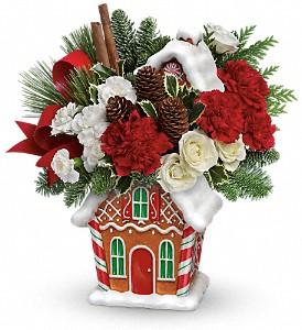 Teleflora's Gingerbread Cookie Jar Bouquet in Elkridge MD, Flowers By Gina