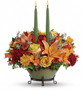 Teleflora's Golden Fall Centerpiece in Reno NV, Bumblebee Blooms Flower Boutique