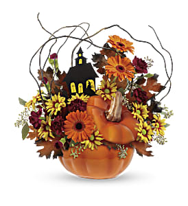 Teleflora's Haunted House Bouquet in North Syracuse NY, The Curious Rose Floral Designs