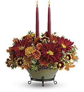 Teleflora's Tuscan Autumn Centerpiece in The Woodlands TX, Rainforest Flowers