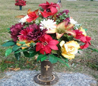 Fall Holiday Cemetery Vase in Statesville NC, Brookdale Florist, LLC