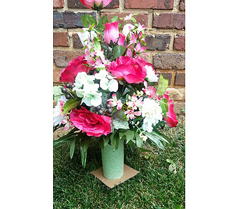 Pink Cemetery Vase in Statesville NC, Brookdale Florist, LLC