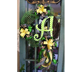 Grapevine Wreath with Lime Chevron Initial in Creedmoor NC, Gil-Man Florist Inc.