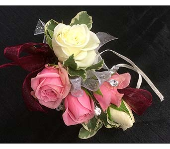Pink and White Rose Wrist Corsage in Belleville ON, Live, Love and Laugh Flowers, Antiques and Gifts
