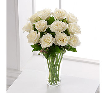 The FTD� White Rose Bouquet  in Woburn MA, Malvy's Flower & Gifts