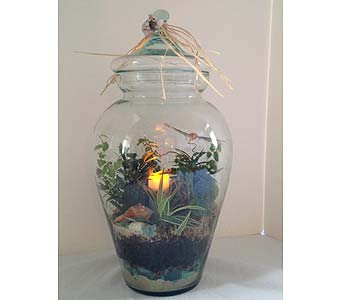 Ming Jar Terrarium with Candle in Crafton PA, Sisters Floral Designs