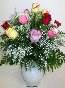 1 dozen mixed colored roses in Palm Coast FL, Garden Of Eden