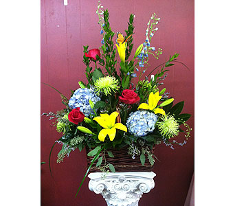 Brown Wicker Basket in Creedmoor NC, Gil-Man Florist Inc.